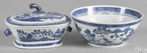 Chinese export porcelain Canton tureen and bowl 19th c