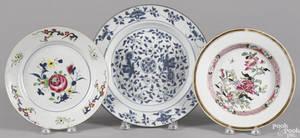 Three Chinese Kangxi porcelain plates