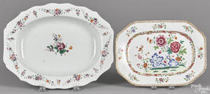 Two Chinese famille rose porcelain platters late 18th c