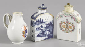 Two Chinese export porcelain tea caddies ca 1800