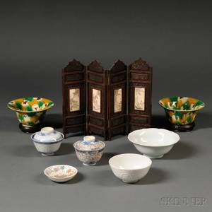Seven Asian Porcelain Items and a Table Screen