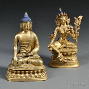 Two Giltbronze Seated Buddhist Figures