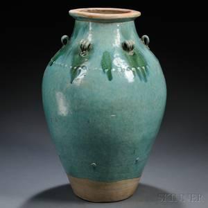 Turquoise Glazed Stoneware Pottery Jar