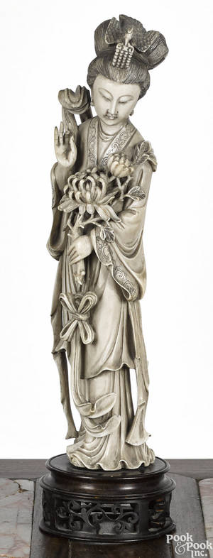 Chinese carved ivory Guanyin ca 1900
