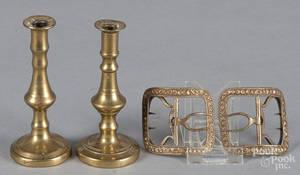 Pair of miniature brass tapersticks