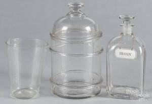 Colorless glass apothecary bottle