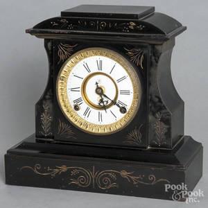 Enameled cast iron mantel clock