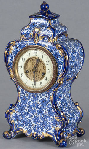 Waterbury mantel clock with a porcelain case