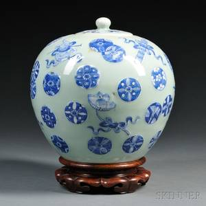 Celadon Covered Jar with Blue and White Decoration