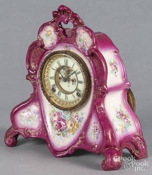 Ansonia mantel clock with a Royal Bonn porcelain case