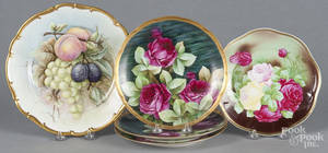 Five handpainted porcelain plates with floral and fruit decoration
