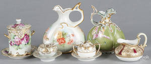 Two handpainted porcelain pitchers