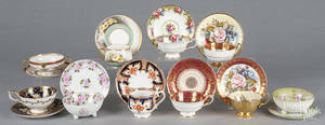 Ten porcelain cups and saucers