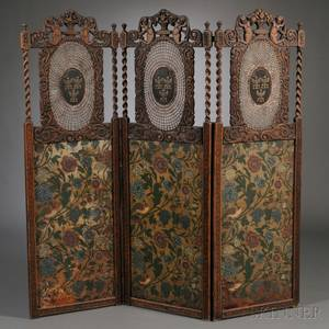 Continental Jacobethanstyle Threepanel Carved Oak Caned and Painted Leather Floor Screen