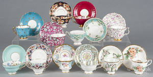 Twelve porcelain cups and saucers