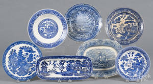 Seven pieces of blue and white porcelain
