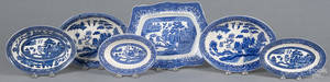 Five Blue Willow oblong serving dishes