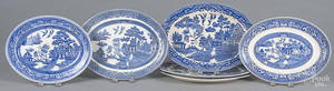 Six Blue Willow oval serving dishes