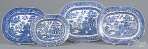 Four Blue Willow platters