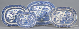 Four Ironstone Blue Willow platters