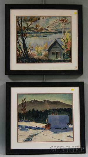 Aarne Parker American 19021995 Two Works Winter Landscape