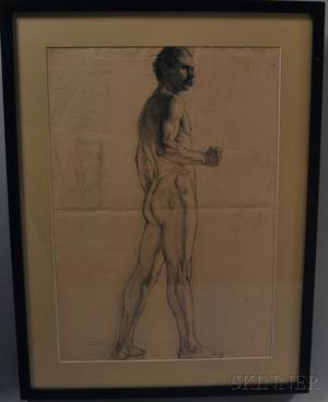 Ida Sedgwick Proper American 18731957 Figure Study Standing Male Nude
