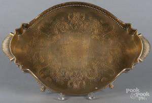Engraved brass tray