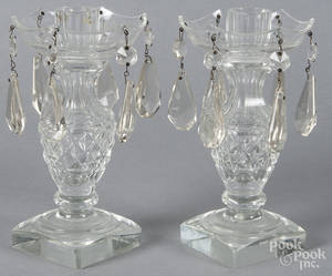 Pair of colorless glass candleholders