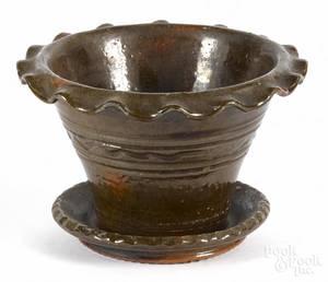 I S Stahl redware flowerpot