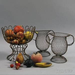 Wire Compote with Fifteen Pieces of Stone Fruit and a Pair of Wire Vases