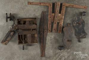 Three wrought iron door locks