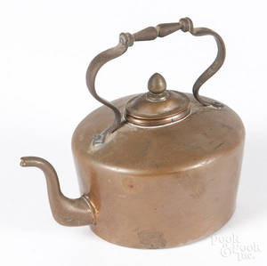 Miniature English copper tea kettle
