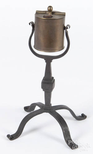 Contemporary wrought iron and brass kettle lamp