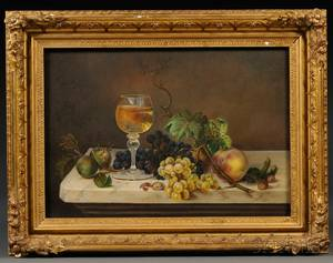 American School 19th Century Still Life with Wine and Fruit on a Marbletop Table