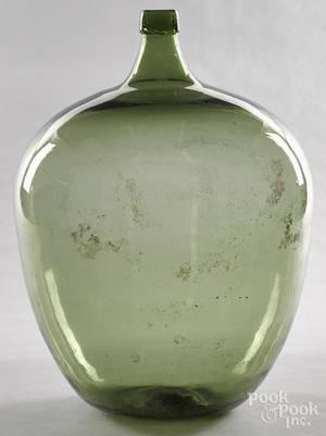 Green glass demijohn