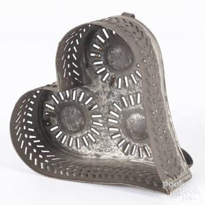 Tin heartshaped cheese strainer