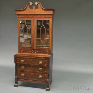 Colonial Revival Carved Mahogany and Mahogany Veneer Inlaid Desk and Bookcase