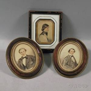 American School 19th Century Three Miniature Portraits of a Young Woman and Two Young Men