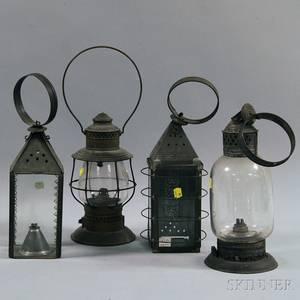 Four Tin and Brass Lanterns