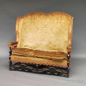 William  Marystyle Upholstered Walnut Highback Settee