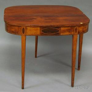 Federalstyle Inlaid Mahogany and Burl Veneer Dshaped Card Table