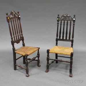 Two Carved Banisterback Prince of Wales Crest Side Chairs