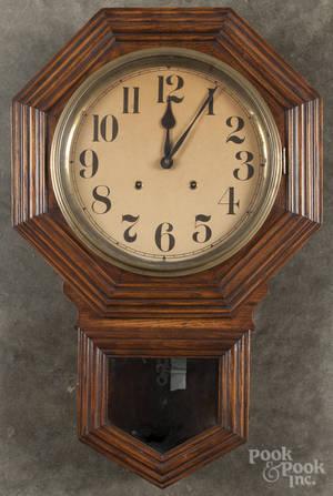 William Gilbert oak drop octagon wall clock