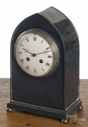 French silverplated bee hive mantel clock