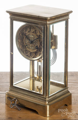 Marti  Cie brass crystal regulator clock