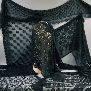 Six Black Silk and Lace Stoles and Scarves