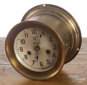 Waterbury Clock Co brass ship clock