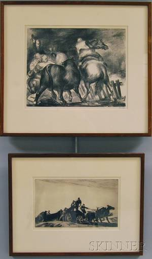 Two Framed Prints Acquired from Associated American Artists Gallery Gifford Beal American 18791956 The New Wagon
