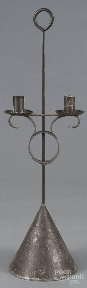 Weighted tin table top candlestand