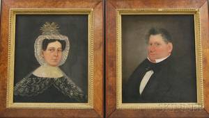 American School 19th Century Pair of Portraits of a Sea Captain and His Wife